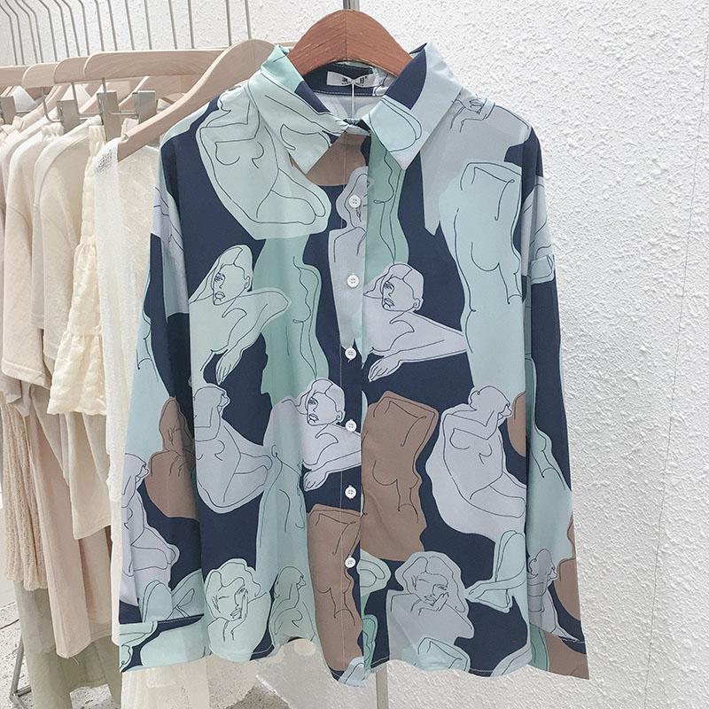 Mooirue Abstract Printed Vintage Blouse Women 2019 Autumn Loose Streetwear Long Sleeve Casual Niche Design Harajuku Cardigan Top