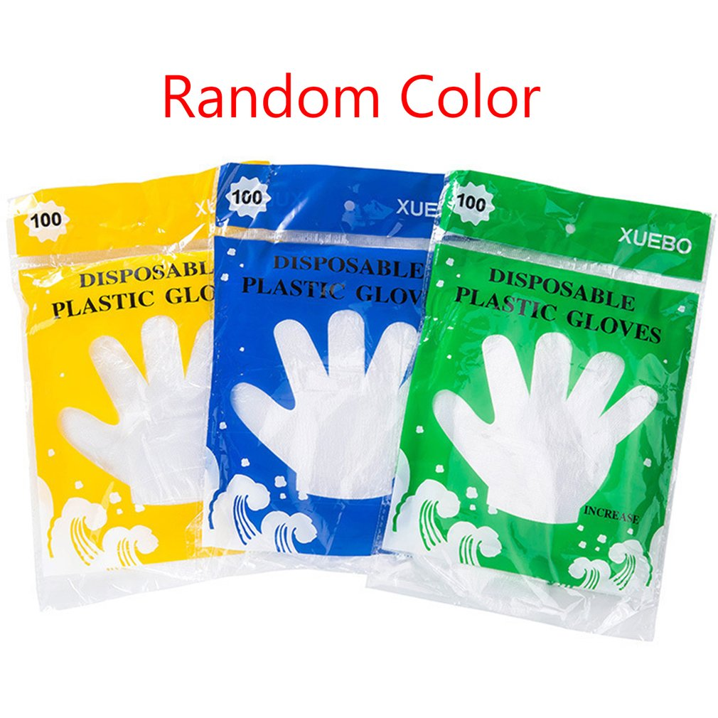 100pcs/1 Box Catering Food Grade Household Household Cleaning And Sanitary Disposable Gloves Practical Thick Beauty Gloves