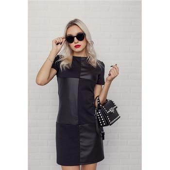 Women Vintage Leather Patchwork Elegant Office Dress