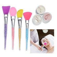 Brosse de maquillage professionnelle en Silicone pour masque facial, outils applicateurs sans poils, poignée en strass, outils de beauté cosmétique à faire soi-même