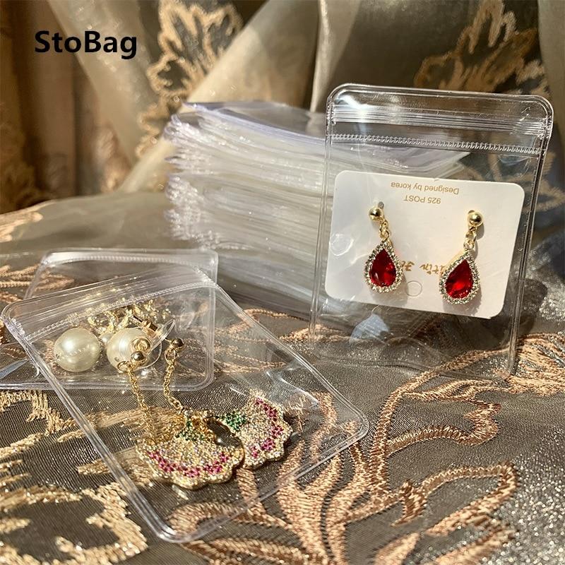 StoBag 25 проводов ПВХ Прозрачные сумки Ziplock утолщенная подарочная упаковка для хранения ювелирных изделий маленький размер
