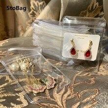 Stobag 25 fios pvc transparente ziplock sacos engrossar armazenamento presente jóias embalagem decoração saco tamanho pequeno