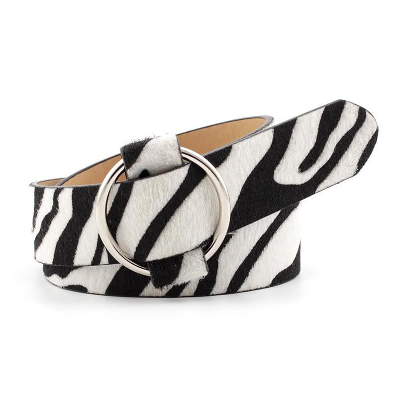 Women's Circle RING Buckle Non-porous PU Leather Belt Leopard Print Snakeskin Pattern Zebra Pattern  Jeans Dress Belt