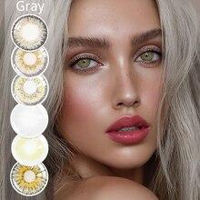 2 pcs/par lentes de contato da cor da série cinzenta lentes de contato cosméticas naturais dos olhos lentes de contato coloridas para a composição dos olhos uyaai