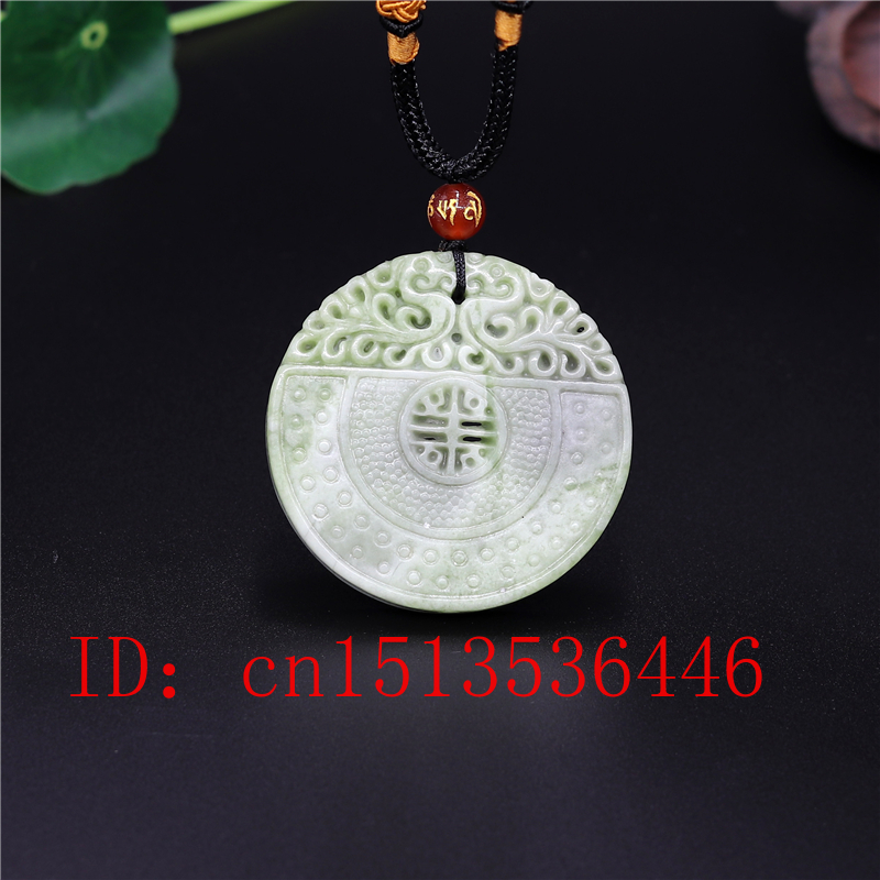 Natural Chinese Dragon Phoenix Jade Pendant White Green Necklace Charm Jewellery Fashion Double-sided Carved Man Woman Amulet