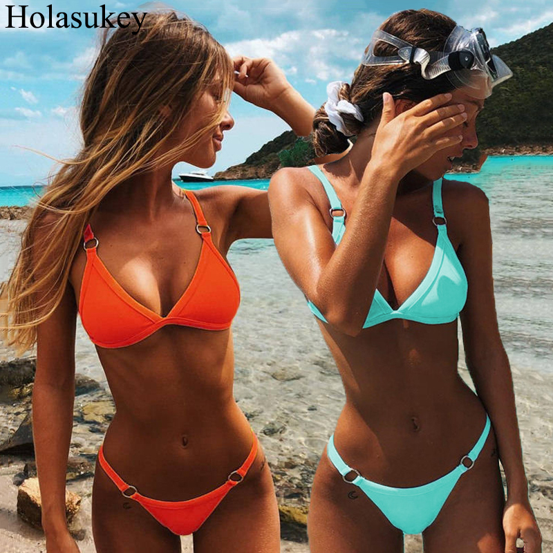 Sexy Solid Bikini Set Swimwear Women Micro Bikinis Ring Patchwork Swimsuit Brazilian Bathing Suit Low Waist Beachwear Biquini