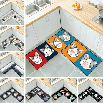 Kitchen Mat Anti-slip Modern Area Rugs Living Room Balcony Bathroom Printed Carpet Doormat Hallway Geometric Bath Mat image