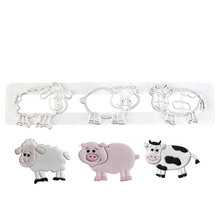 Cute Pig Cow Sheep Dessert Cutter Fondant Cake Decorating Tool For Pastry Biscuit Cake Molds Cartoon Animals Shape Cookie Mould