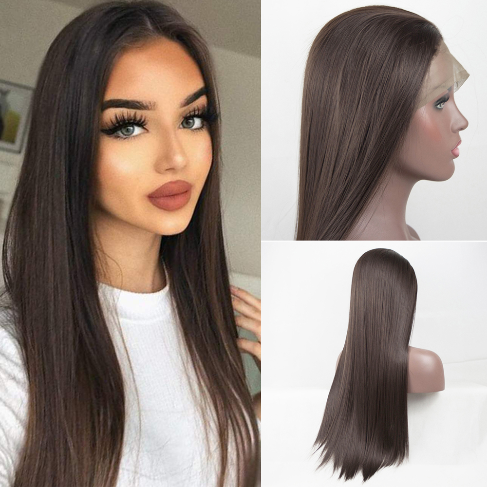 Lace Front Wigs Dark Brown Silk Straight Heat Resistant Fiber Synthetic Wig For Women With Natural Hairline And Baby Hair