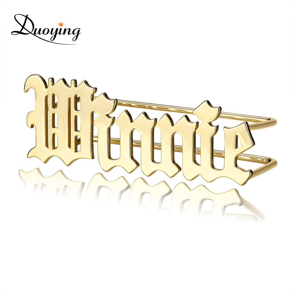 DUOYING Custom Nameplate Ring Knuckles Name Personalized Carve Handwriting Letter Style Ring Custom Rings
