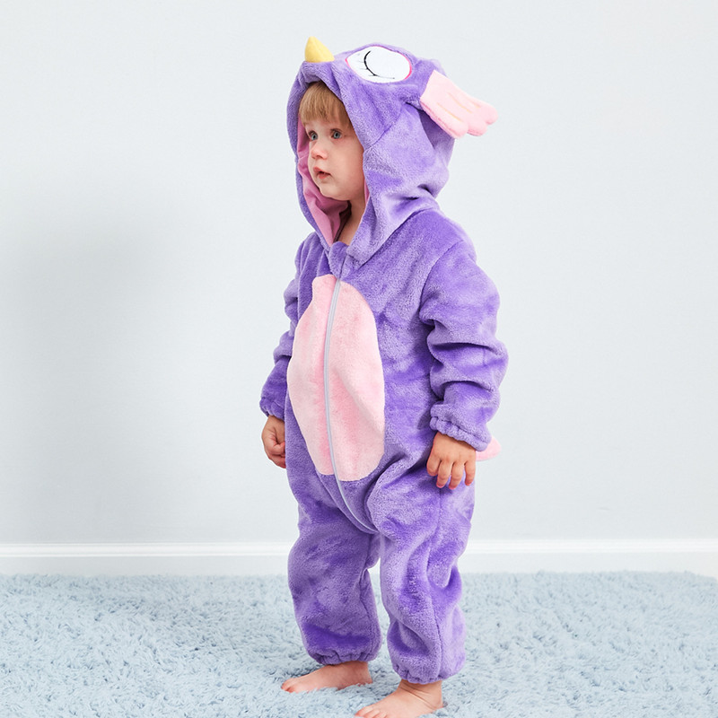 Children's Pajamas Baby Cute Purple Owl Piece Pajamas Autumn And Winter Warm Flannel Baby Onesies Children's Romper