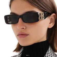 Designerskie okulary przeciwsłoneczne damskie męskie kwadratowe luksusowe odcienie okulary złote słowo B dekoracje modne małe prostokątne okulary przeciwsłoneczne damskie 2021 tanie tanio DeFanxi CN (pochodzenie) WOMEN Z żywicy SQUARE Adult Z tworzywa sztucznego NONE Gradient Fotochromowe Przeciwodblaskowe