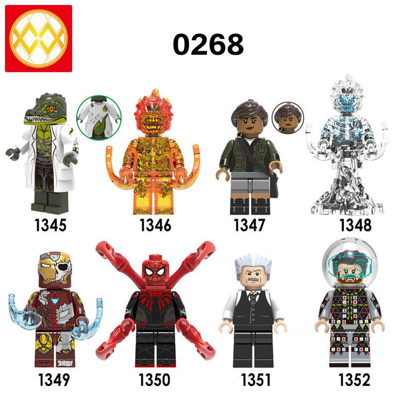 Single X0268 Spider-Man 2 Far From Home Lizard Fire Elemental Wind Element Mysterio Iron Man Building Blocks Toys Free Shipping