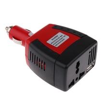 75W Автомобильное зарядное устройство адаптер DC 12V в AC 220V UK/EU/преобразователь питания+ USB порт