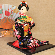 Sitting 14 Inch Japanese Kimono Geisha Doll Toy Skill Resin Statuette Hand-Made Model Handicraft Restaurant Home Decoration Gift(China)
