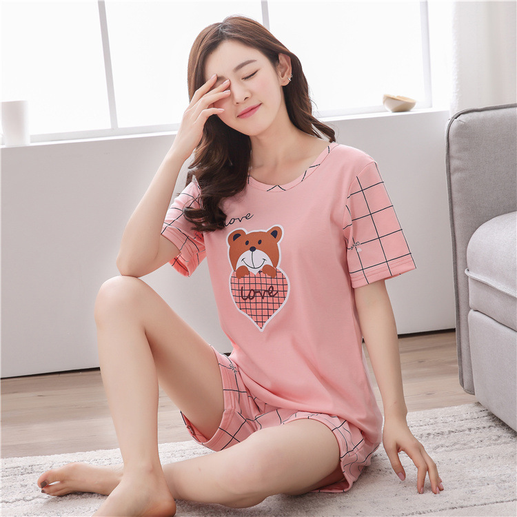 New Products Spring Summer Short-sleeved Shorts Pajamas Female Summer Cute Cartoon Peach Heart Grid Bear Women's Home Wear Two-P