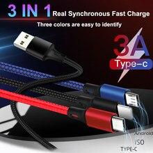Cabo usb carregamento rápido 3 em 1, cabo de dados para iphone xs max xr x 8 7 micro usb carregador cabo tipo c de nylon para samsung s9 s8