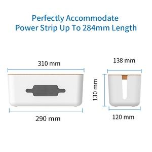 Image 2 - NTONPOWER منظم الكابلات صندوق الصلب قلم بلاستيكي للمكتب إدارة الكبلات صندوق مع حامل غطاء لون الخشب للمنزل كابل اللفاف التخزين