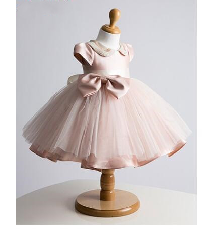 Cute Pink   Flower     Girl     Dress   with pearls Baby ball gown baby   girl   Birthday   Dress   Newborn baptism   Dress   christening gown