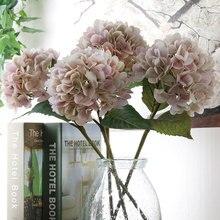 2pcs Artificial Flowers Bouquet Single Silk Cloth Branch Wedding Party Hydrangea Faux Floral Plants Dried