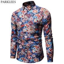 Camisa de Cachemira para Hombre, diseño de marca, Camisas de vestir ajustadas con estilo, camisa de manga larga para Hombre, Camisas sociales informales para fiesta