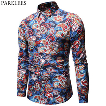 Herren Paisley Shirt Marke Design Stilvolle Slim Fit Kleid Shirts Männer Langarm Chemise Homme Party Lässig Sozialen Camisas Hombre