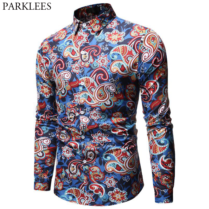 Mens Paisley Shirt Brand Design Stylish Slim Fit Dress Shirts Men Long Sleeve Chemise Homme Party Casual Social Camisas Hombre