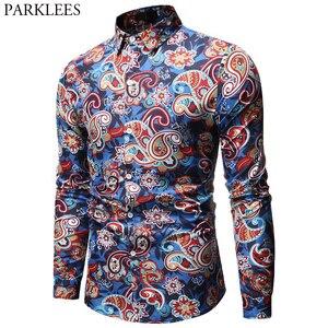 Image 1 - Mens Paisley เสื้อการออกแบบแบรนด์ Stylish Slim Fit เสื้อผู้ชายเสื้อเชิ๊ตแขนยาว Homme Casual Camisas Hombre