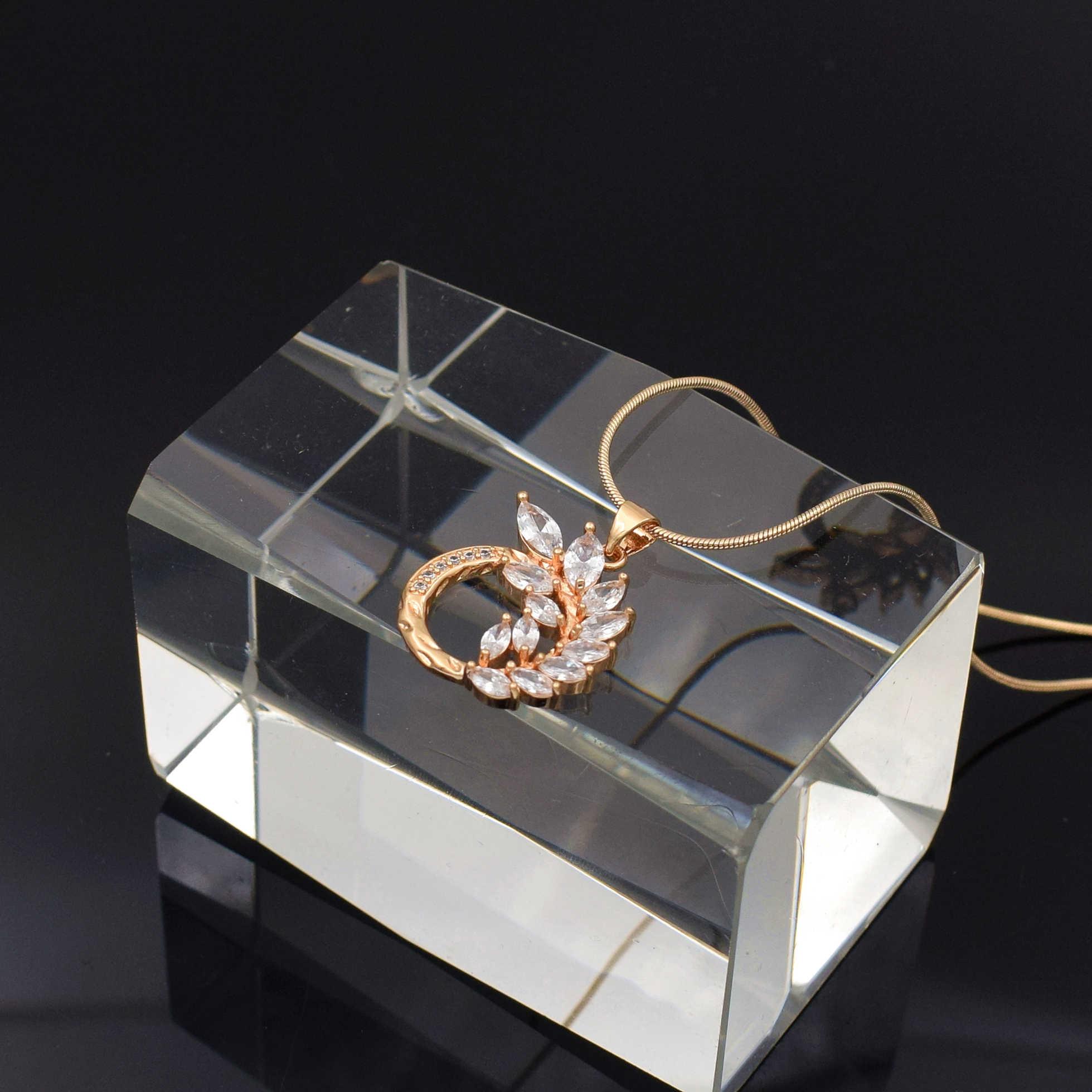 Naszyjnik dla kobiet cyrkonia wisiorek różowe złoto kolor naszyjniki urok kryształ biały kolor naszyjnik łańcuch kobiety biżuteria 2019