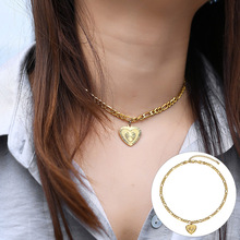 Heart Pendant Choker Necklace for Women Girls Stainless Stee