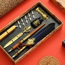 Stylo à plume Vintage, 5 plumes, encre d'écriture, sceau de cire, boîte-cadeau, papeterie de calligraphie, fournitures scolaires
