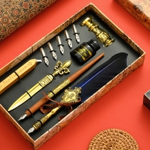 Vintage Quill Feather Dip Pen Fountain Writing Ink 5 Nibs Seal Wax Gift Box Calligraphy Stationery School Supplies