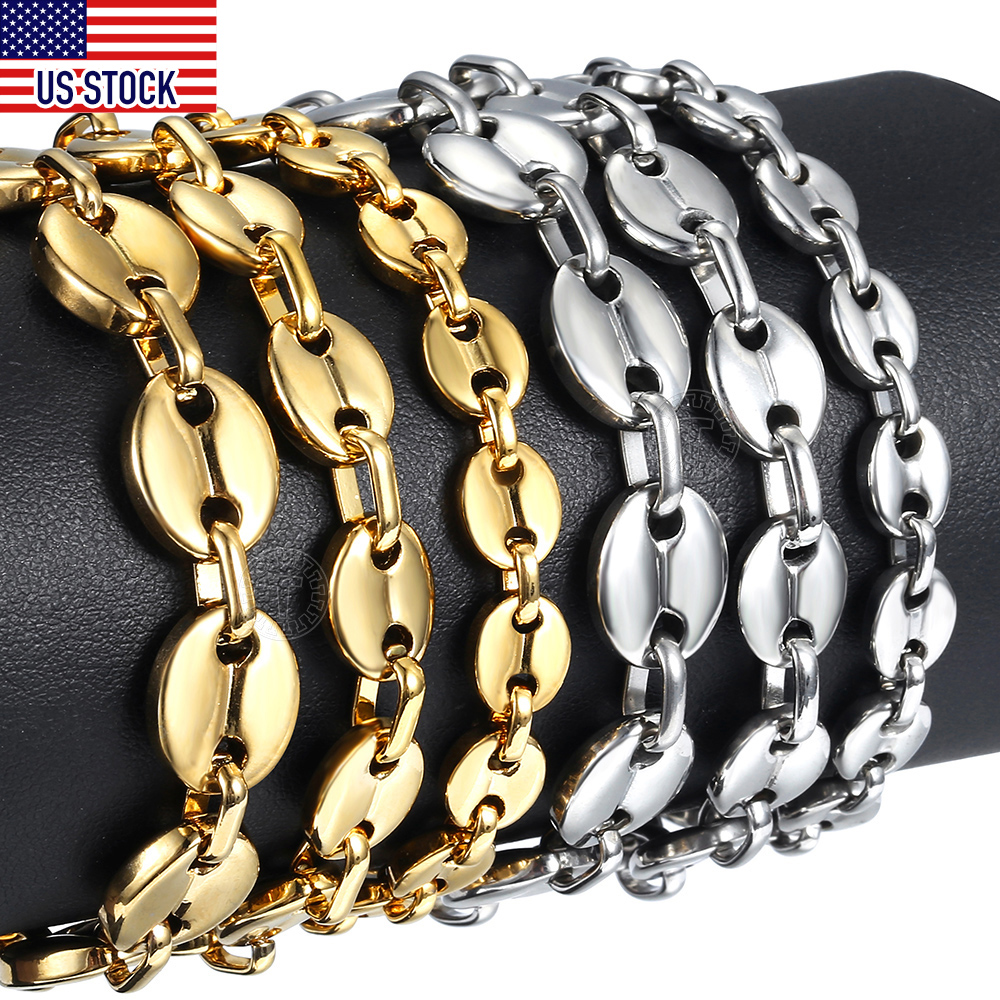 Coffee Beans Link Chain Bracelet 7/9/11mm Stainless Steel Gold Silver Color for Men Women Fashion Jewelry Gift DKBM169