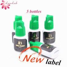 Colle super pour Extensions de cils individuelles, 5ml, 5 bouteilles dibeauty à bouchon vert, séchage rapide, IB, livraison gratuite