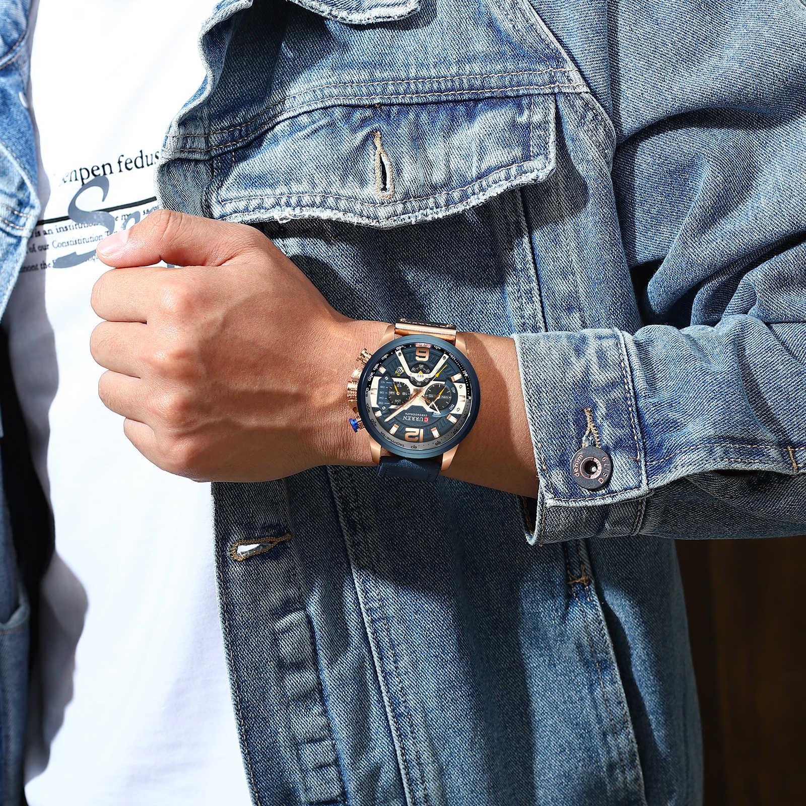 CURREN 8329 מקרית ספורט שעונים גברים כחול למעלה מותג יוקרה צבאי עור שעון יד גבר שעון אופנה הכרונוגרף שעוני יד