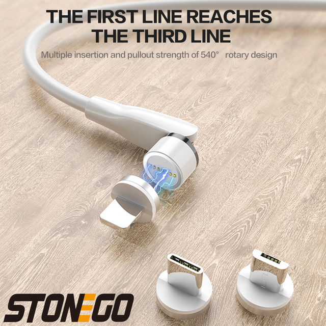 STONEGO 540° Rotating Charging Cable, 3A Magnetic USB Cables Fast Charging Data Sync Type-C / Micro USB Cable 6