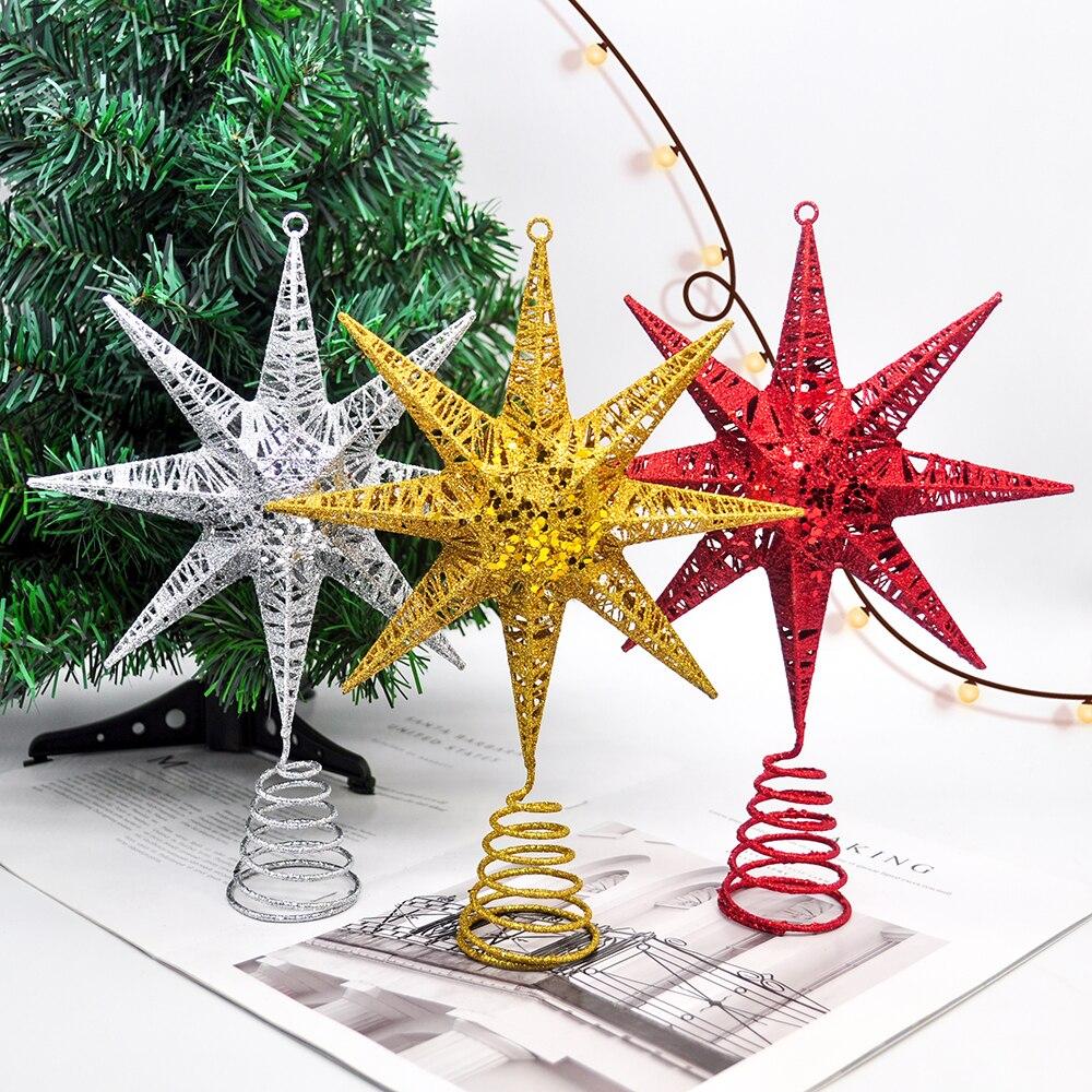 1PCS Christmas Ornaments Metal Iron Meteor Christmas Tree Top Star Window Pendant Shopping Center Home Decoration