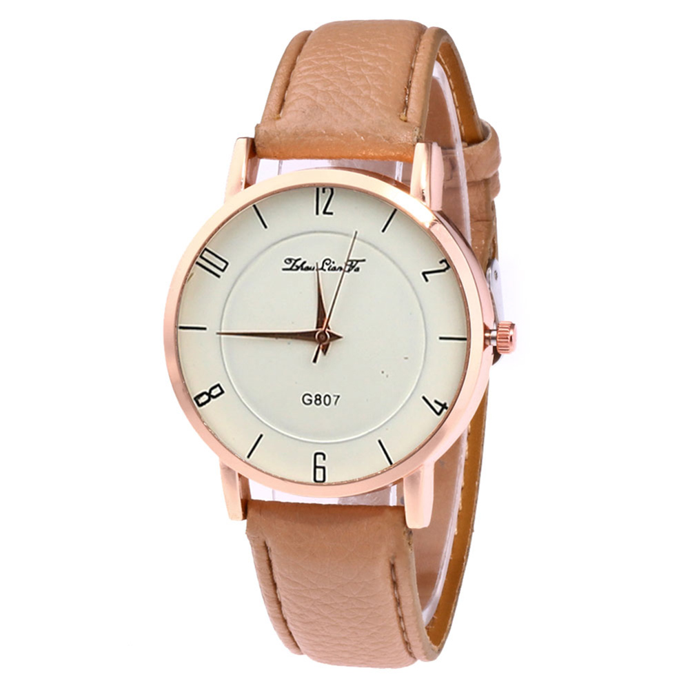 Simple Fashion Couple Quartz Watch Faux Leather Strap Round Dial Watches Women Couple Watches  LXH