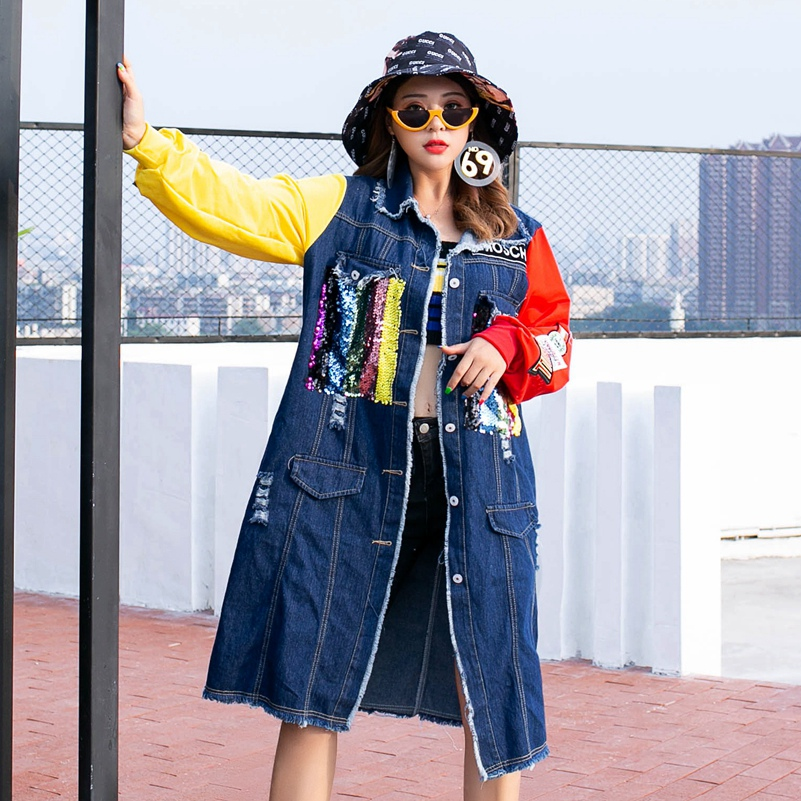 Windbreaker Long-Sleeve Fashion Sexemara New Splice The Cartoon Sequin Burr Contrast-Color