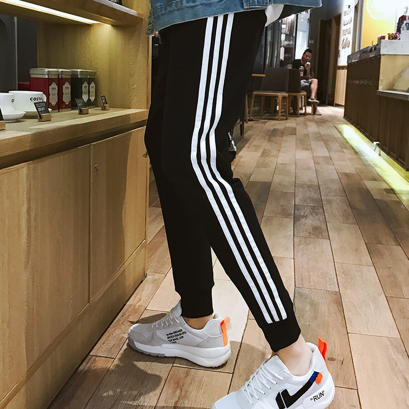 Pure Cotton Athletic Pants Men Three Bars Pants Men's Korean-style Trend Students Casual Stripes Capri Pants Beam Leg Sweatpants