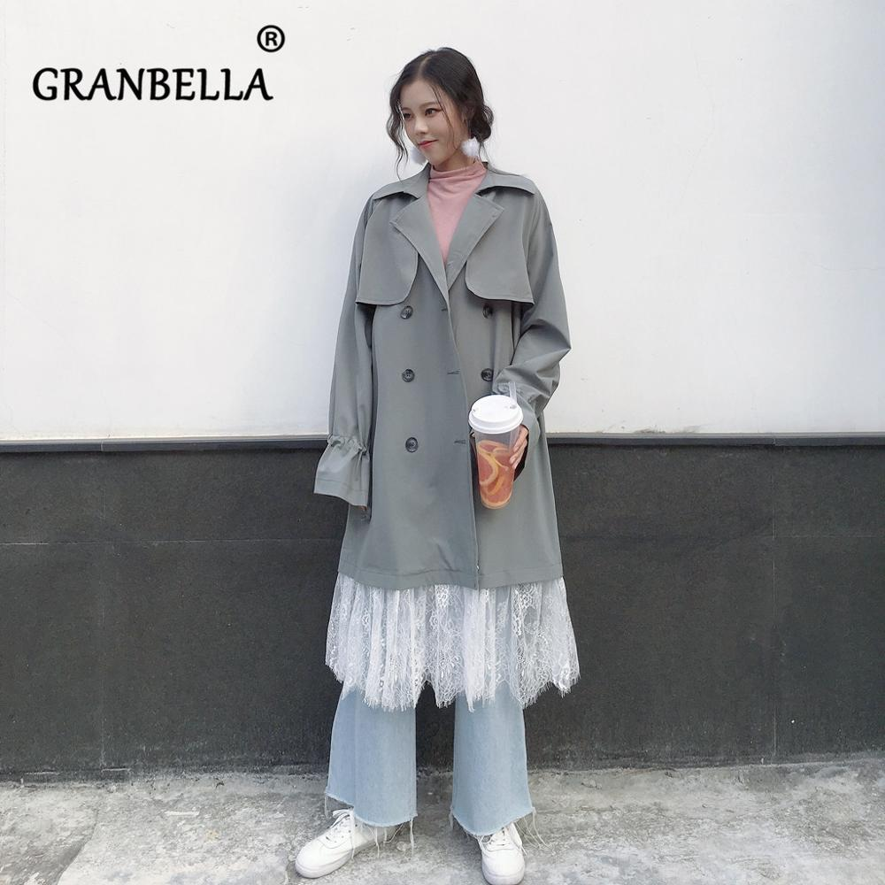 Autumn Spring Fashion New Korean Chic Double-breasted Women Windbreaker Lace Hemp Patchwork Full Sleeve Long Female Trench Coat