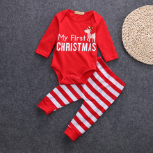 My First Christmas Girl Clothes Set For Newborn Elk Print Bodysuit+Striped Pant Baby 2019 Winter Warm D40