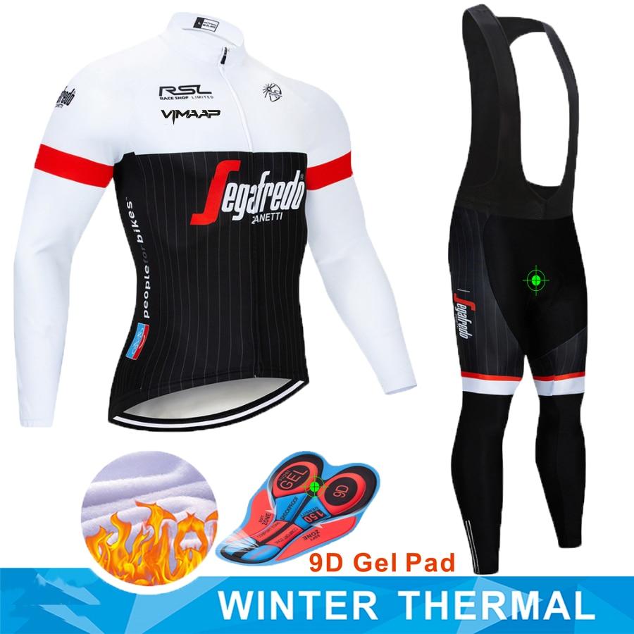 TREKKING SEGAFREDO 2019 Winter Thermal Fleece Warm Cycling Jersey Set Thermal Cycling Clothing Mtb Riding Apparel Ropa Ciclismo