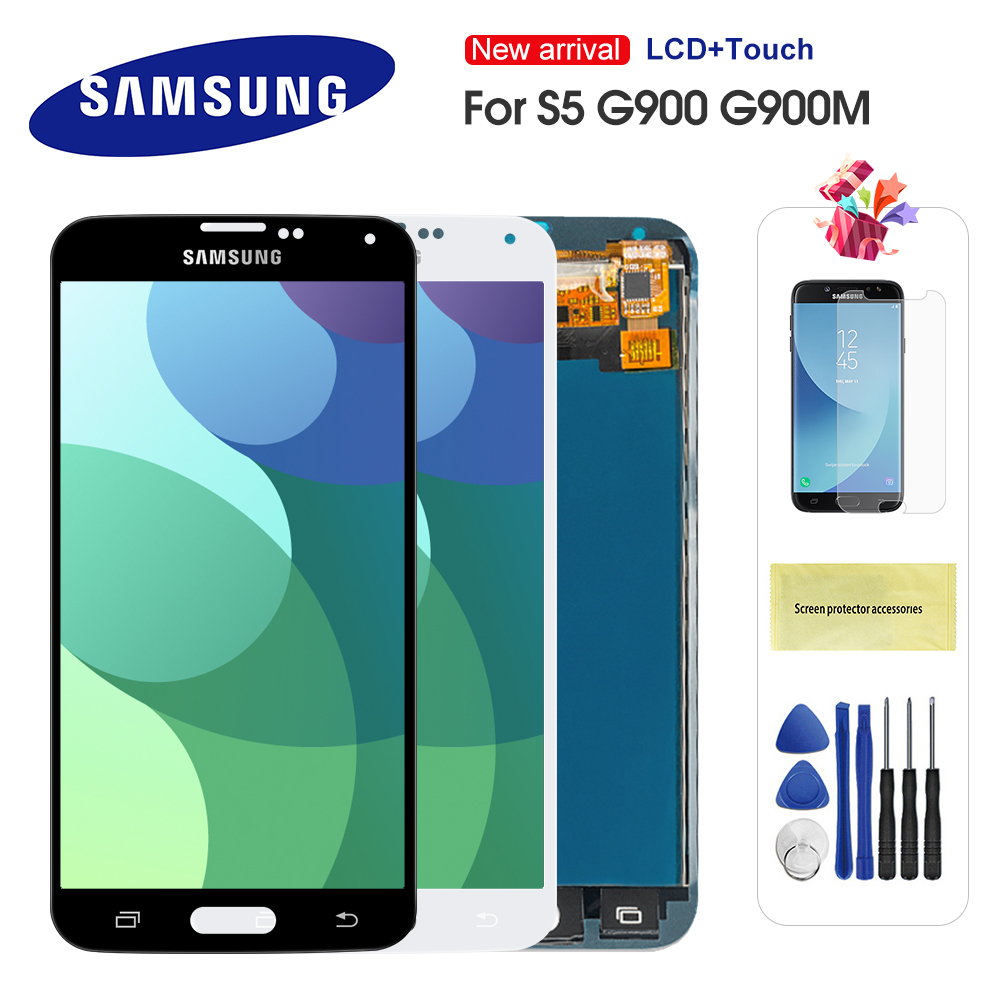<font><b>LCD</b></font> Für <font><b>Samsung</b></font> <font><b>Galaxy</b></font> <font><b>S5</b></font> I9600 <font><b>G900</b></font> G900A G900F <font><b>LCD</b></font> Display Touch <font><b>Screen</b></font> Replacment Teile Für <font><b>S5</b></font> <font><b>LCD</b></font> Bildschirm image
