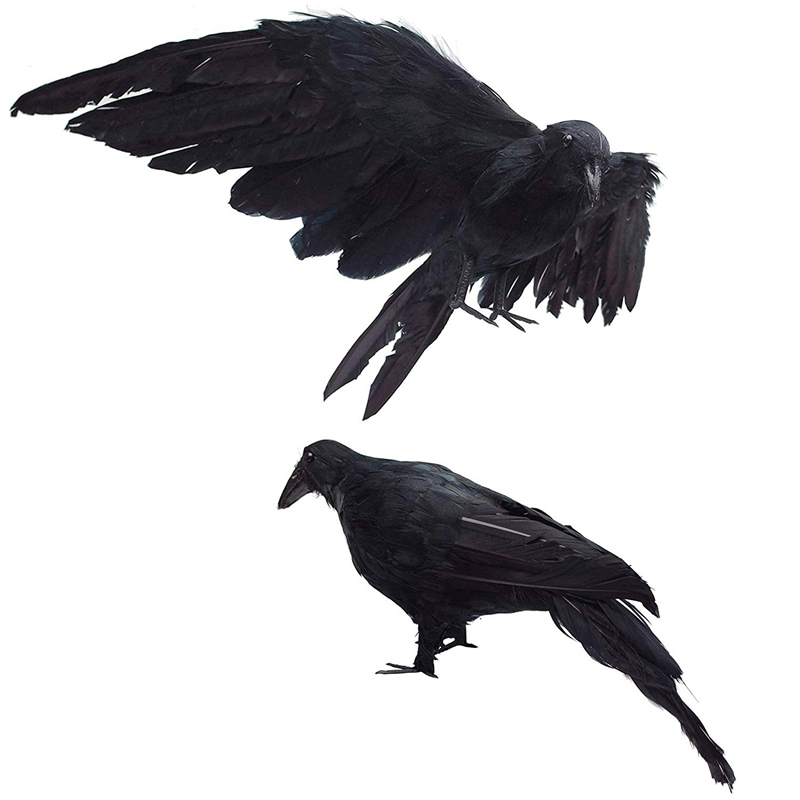 2-Pack Realistic Crows Extra Large Handmade Black Feathered Crow For Halloween Decorations Birds, L (13 Inch+12 Inch)