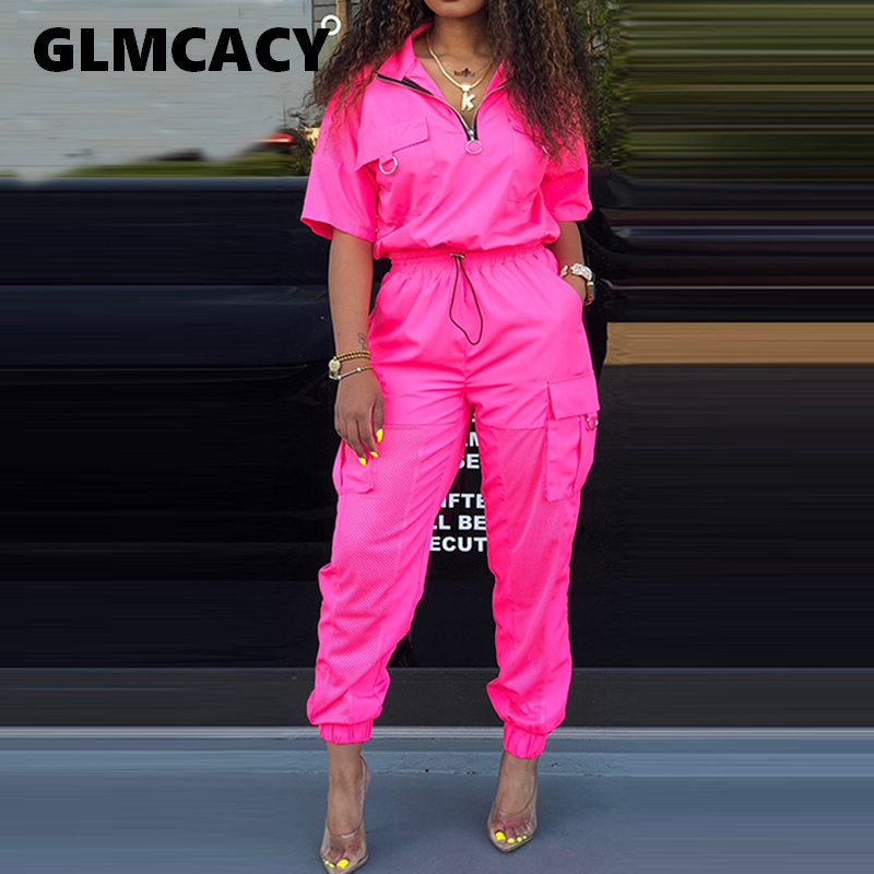 Women Two Piece Sweatsuit Plus Size Short Sleeve Turn Down Collar Pullover Top With Elastic Waist Ankle Length Jogger Pants