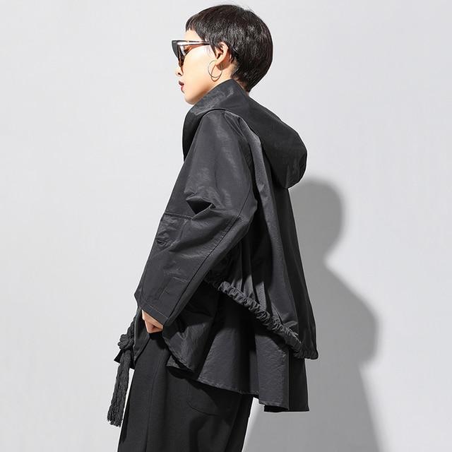 [EAM] Loose Fit Black Asymmetrical Split Big Size Short Jacket New Hooded  Long Sleeve Women Coat Fashion Tide Spring 2021 1N797 5