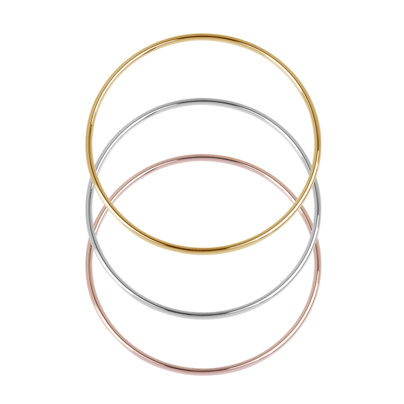 Fashion Stainless Steel Bangles Bracelets Rose Gold Silver Color Round Jewelry For Women Men Gifts 22cm – 18.5cm Long, 1 PC