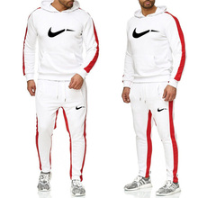 2019 authentic brand mens sportswear solid color printing hoodie suit black white hooded sweater sweatpants