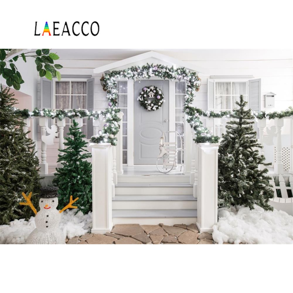 Laeacco Christmas Tree Gray House Yard Snowman Wreath Baby Newborn Portrait Photo Backgronds Photographic Backdrops Photo Studio in Background from Consumer Electronics